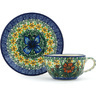 7 oz Stoneware Cup with Saucer - Polmedia Polish Pottery H9151G