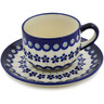 7 oz Stoneware Cup with Saucer - Polmedia Polish Pottery H9487B