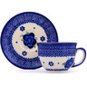 7 oz Stoneware Cup with Saucer - Polmedia Polish Pottery H9626G