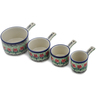 7 oz Stoneware Set of 4 Measuring Cups - Polmedia Polish Pottery H0589L