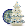 8-inch Stoneware Christmas Tree Candle Holder - Polmedia Polish Pottery H0802I