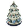 8-inch Stoneware Christmas Tree Candle Holder - Polmedia Polish Pottery H1578B