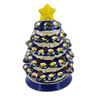 8-inch Stoneware Christmas Tree Candle Holder - Polmedia Polish Pottery H5319C