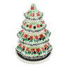 8-inch Stoneware Christmas Tree Candle Holder - Polmedia Polish Pottery H7165F