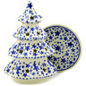 8-inch Stoneware Christmas Tree Candle Holder - Polmedia Polish Pottery H7953D