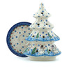 8-inch Stoneware Christmas Tree Candle Holder - Polmedia Polish Pottery H9958H