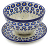 8-inch Stoneware Colander with Plate - Polmedia Polish Pottery H1509K