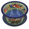 8-inch Stoneware Colander with Plate - Polmedia Polish Pottery H2162K