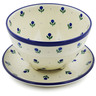 8-inch Stoneware Colander with Plate - Polmedia Polish Pottery H3233B