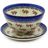 8-inch Stoneware Colander with Plate - Polmedia Polish Pottery H4324F
