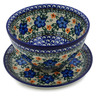 8-inch Stoneware Colander with Plate - Polmedia Polish Pottery H4523B