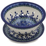 8-inch Stoneware Colander with Plate - Polmedia Polish Pottery H5105K