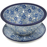 8-inch Stoneware Colander with Plate - Polmedia Polish Pottery H9248K
