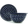 8-inch Stoneware Colander with Plate - Polmedia Polish Pottery H9352A