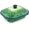 8-inch Stoneware Dish with Cover - Polmedia Polish Pottery H5401G