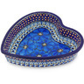 8-inch Stoneware Heart Shaped Bowl - Polmedia Polish Pottery H3648G