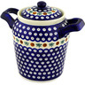 8-inch Stoneware Jar with Lid and Handles - Polmedia Polish Pottery H1029D