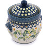 8-inch Stoneware Jar with Lid and Handles - Polmedia Polish Pottery H1068G