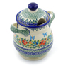 8-inch Stoneware Jar with Lid and Handles - Polmedia Polish Pottery H3153J