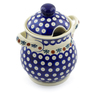 8-inch Stoneware Jar with Lid and Handles - Polmedia Polish Pottery H3154J
