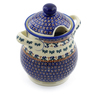 8-inch Stoneware Jar with Lid and Handles - Polmedia Polish Pottery H4232J