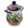 8-inch Stoneware Jar with Lid and Handles - Polmedia Polish Pottery H4250K