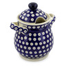 8-inch Stoneware Jar with Lid and Handles - Polmedia Polish Pottery H6422J