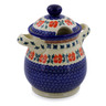 8-inch Stoneware Jar with Lid and Handles - Polmedia Polish Pottery H7118J