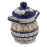8-inch Stoneware Jar with Lid and Handles - Polmedia Polish Pottery H7691K