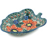 8-inch Stoneware Leaf Shaped Bowl - Polmedia Polish Pottery H1582F
