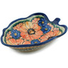 8-inch Stoneware Leaf Shaped Bowl - Polmedia Polish Pottery H5494F