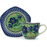 8 oz Stoneware Cup with Saucer - Polmedia Polish Pottery H0140G