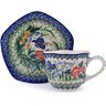 8 oz Stoneware Cup with Saucer - Polmedia Polish Pottery H0141G