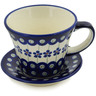 8 oz Stoneware Cup with Saucer - Polmedia Polish Pottery H1353L