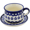 8 oz Stoneware Cup with Saucer - Polmedia Polish Pottery H1374L