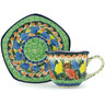 8 oz Stoneware Cup with Saucer - Polmedia Polish Pottery H1998H