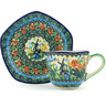 8 oz Stoneware Cup with Saucer - Polmedia Polish Pottery H4107G
