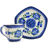 8 oz Stoneware Cup with Saucer - Polmedia Polish Pottery H4902G