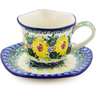 8 oz Stoneware Cup with Saucer - Polmedia Polish Pottery H8338J