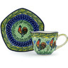 8 oz Stoneware Cup with Saucer - Polmedia Polish Pottery H8936G