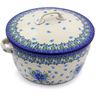 9-inch Stoneware Baker with Cover with Handles - Polmedia Polish Pottery H0728I