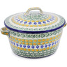 9-inch Stoneware Baker with Cover with Handles - Polmedia Polish Pottery H0892B