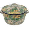 9-inch Stoneware Baker with Cover with Handles - Polmedia Polish Pottery H1517L