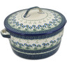 9-inch Stoneware Baker with Cover with Handles - Polmedia Polish Pottery H2681B