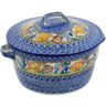 9-inch Stoneware Baker with Cover with Handles - Polmedia Polish Pottery H3557K