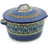 9-inch Stoneware Baker with Cover with Handles - Polmedia Polish Pottery H3567K
