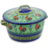 9-inch Stoneware Baker with Cover with Handles - Polmedia Polish Pottery H3587K