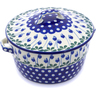 9-inch Stoneware Baker with Cover with Handles - Polmedia Polish Pottery H8136B