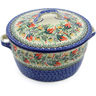 9-inch Stoneware Baker with Cover with Handles - Polmedia Polish Pottery H9503A