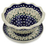 9-inch Stoneware Colander with Plate - Polmedia Polish Pottery H3784B